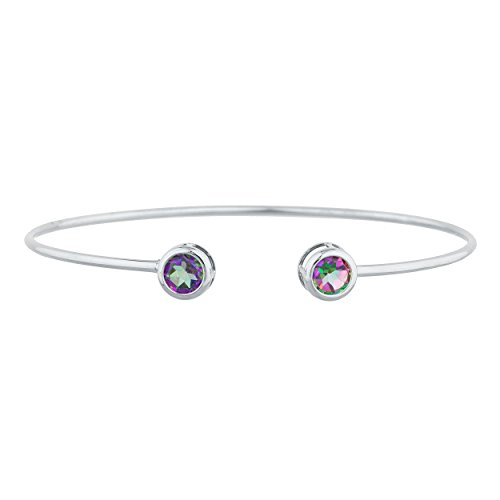 (2 Ct Natural Mystic Topaz Round Bezel Bangle Bracelet .925 Sterling Silver)