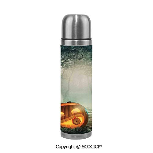 Travel Mug Thermos Food Grade Water Bottle Scary Halloween Pumpkin Enchanted Forest Mystic Twilight Party Art Insulation Cup Leak Proof No Spill Lid Thermoses 500 ML -