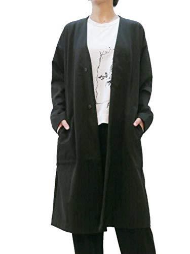 [KEI Hayama PLUS(ケイハヤマプリュス)]ソフト裏毛ノーカラーロングカーディガン 羽織り レディース スエット 長袖 黒 HAKKA ハッカ 06940083