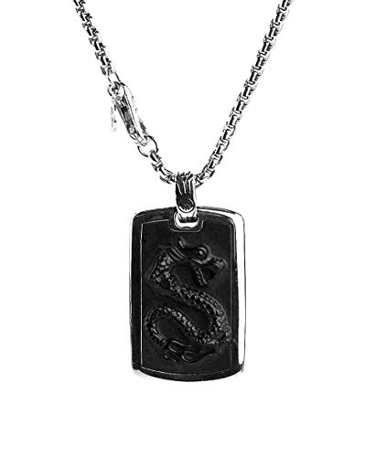 - John Hardy ST. Silver Classic Chain Legends NAGA Carved Onyx Necklace 26
