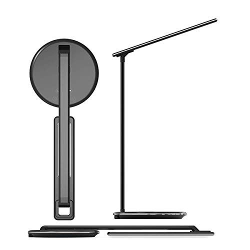 (Led Lights Lamp with Qi Fast Wireless Charger Pad for Cell Phones - 4 Dimmable Colors with Touch Control for Desks, Rooms, Office, Dorm, Table Compatible with Apple iOS, Androids, Galaxy, Qi (Black) )