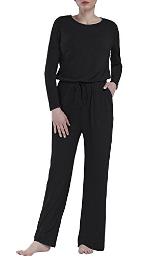 Dreamskull Womens Loose Casual Pockets Jumper Scoop Wide Legs Long Sleeve (Wide Waistband Jumper)