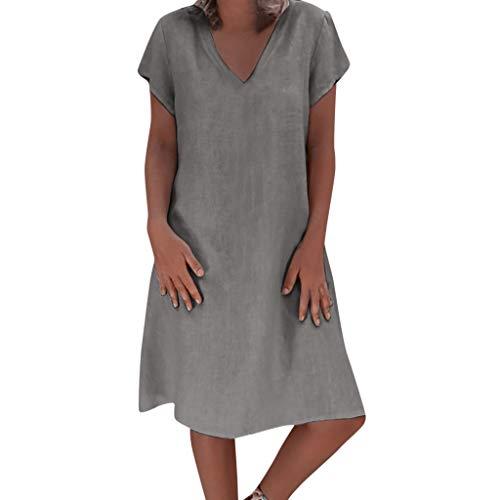 (Mysky Summer Women Popular Casual Solid Color Comfy Linen Dress Ladies Brief Short Sleeve Plus Size Swing Dress Gray)