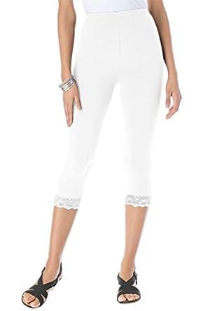 Roamans Women's Plus Size Lace Trim Capri White,S