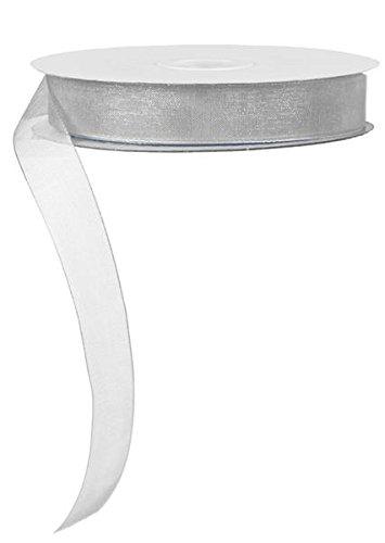 5/8 Sheer Organza Ribbon, No Wire - 25 Yards (Grey)