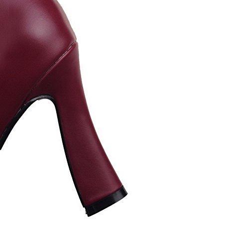 AllhqFashion Damen Rein Weiches Material Hoher Absatz Reißverschluss Rund Zehe Stiefel Weinrot