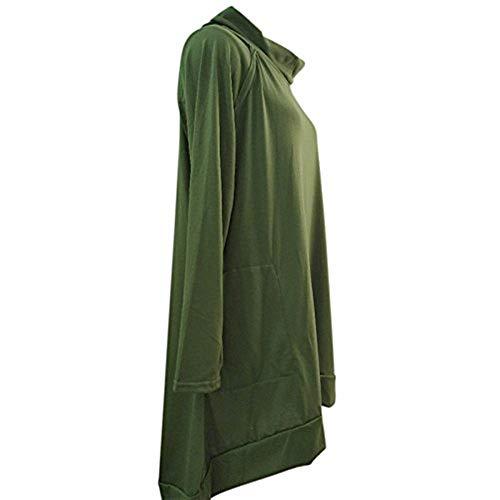 Jumper Elgante Pullover Gr Col O Baggy Automne Mini Uni Chemisier Shirt Shirt Robe Femme Fille Pulli Robe Manche Manche Asymmetric Longue Classique Printemps Robe Longue Chemise TpREwf