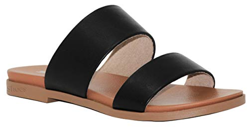 (MVE Shoes Women's Double Strap Slip On Sandals - Peep Toe Flat Mule - Comfort Summer Shoes, Black pu Size 6)