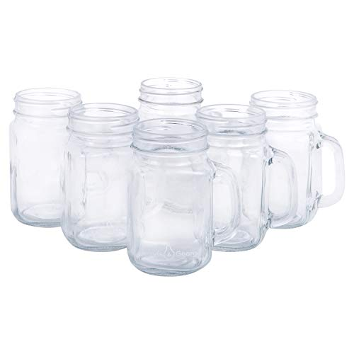 16oz Glass Mason Jar Drinking Cups/Mugs with Handle - Great for Gifts (6 Pack)
