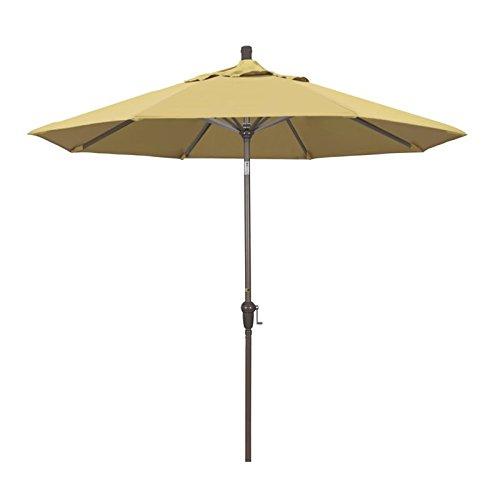 California Umbrella 9′ Round Aluminum Market Umbrella, Crank Lift, Auto Tilt, Champagne Pole, Sunbrella Wheat For Sale