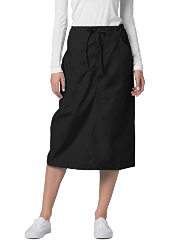 Adar Universal Mid-Calf Length Drawstring Skirt (Available is 17 Colors) - 707 - Black - Size 10
