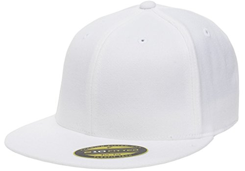 Flexfit Premium Flatbill Cap – Fitted 6210 - Large/X-Large - Fit Flex White Hat