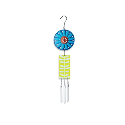 Silvestri Glass and Iron Flower Wind Chime, 15.5-Inch, Blue