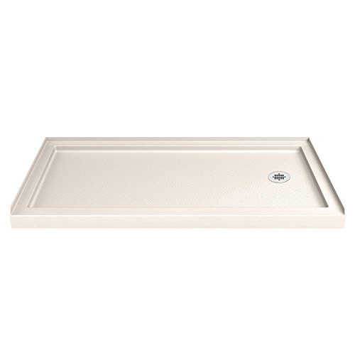 DreamLine SlimLine 34 in. D x 60 in. W x 2 3/4 in. H Right Drain Single Threshold Shower Base in (Biscuit Base)