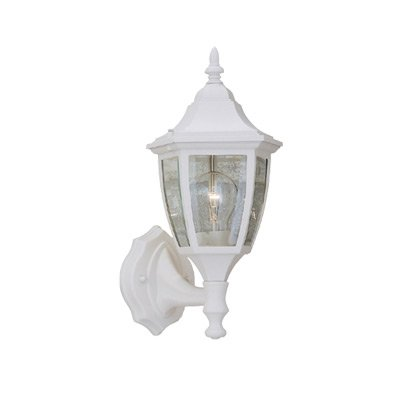 Designers Fountain 2462-WH Builder Cast Aluminum Collection 1-Light Exterior Wall Lantern, White Finish with Clear Beveled Glass by Designers Fountain