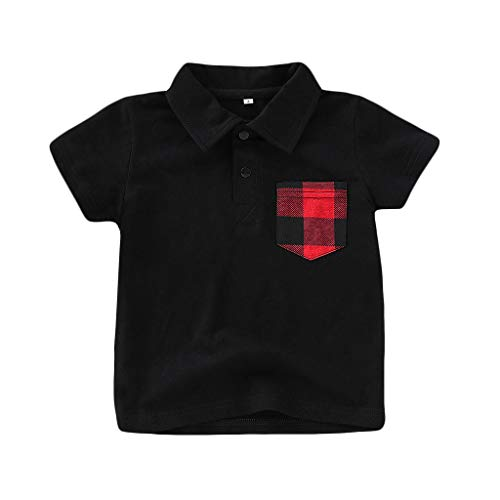 NUWFOR Toddler Baby Kid Boy Plaid Short Sleeve Gentleman Tops T-Shirt Tee Clothes Boys' O-Neck Tee(Black,3-4 Years)