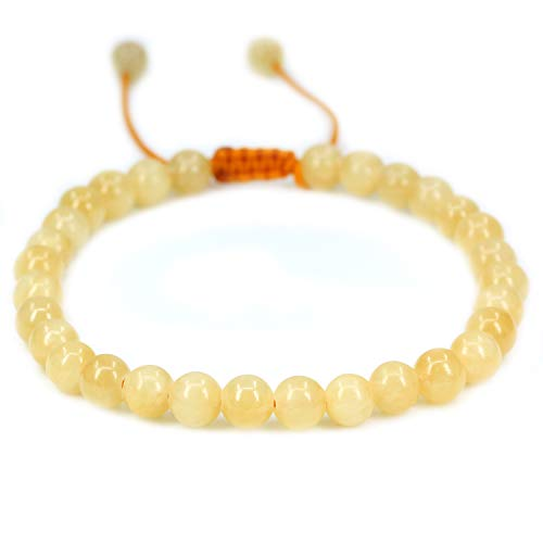 Natural Yellow Jade Gemstone 6mm Round Beads Adjustable Braided Macrame Tassels Chakra Reiki Bracelets 7-9 inch Unisex