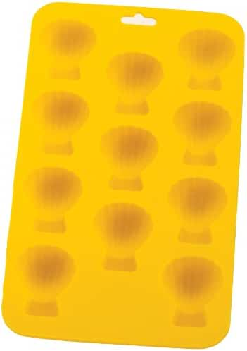 HIC Silicone Shell Ice Cube Tray and Baking Mold, 8 by 4-1/4-Inch
