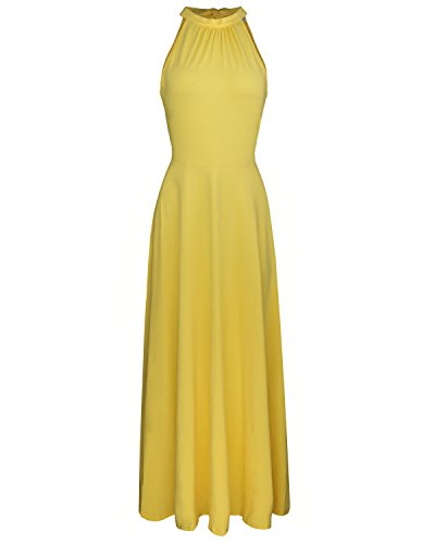 STYLEWORD Women's Off Shoulder Elegant Maxi Long Dress(Yellow,L)