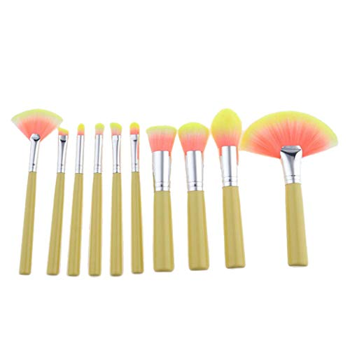 - 10x Makeup Brushes Set Eyeshadow Powder Foundation Blush Contour Lip Tool