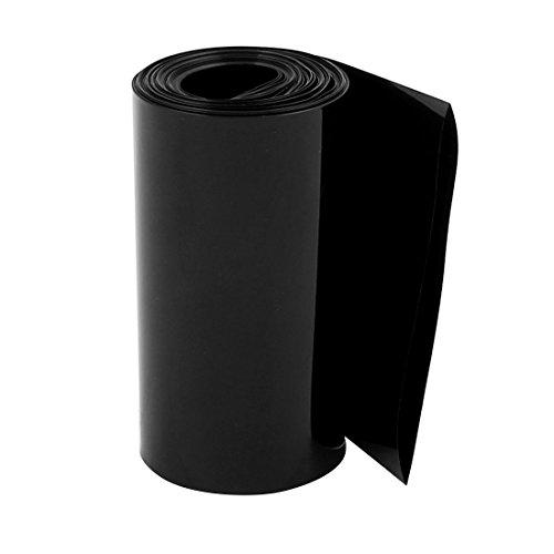 (uxcell 95mm Flat Width 10M Length PVC Heat Shrink Tube Black for 18650 Battery Pack)