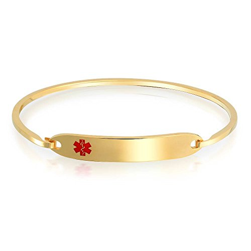 Bling Jewelry Bling Jeweley Womens Gold Plated Steel Medical Alert ID Tag Bangle Bracelet 7in with (Script Id Bracelet)