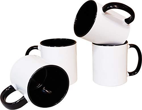 - Mug Set of 4 Pieces 11 oz. Ceramic Coffee/Tea Mugs, All Blank White and Black inside with Black Handle-4-Set-Black