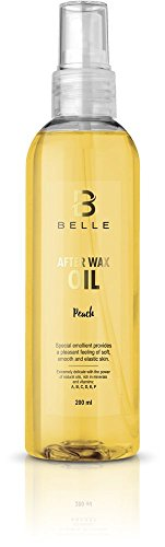 Belle® After wax liquid oil - Post Waxing Skin Calmer & Wax Residue Remover - With natural oils , mineral salts and vitamins - Peach Flavor - 200 ml