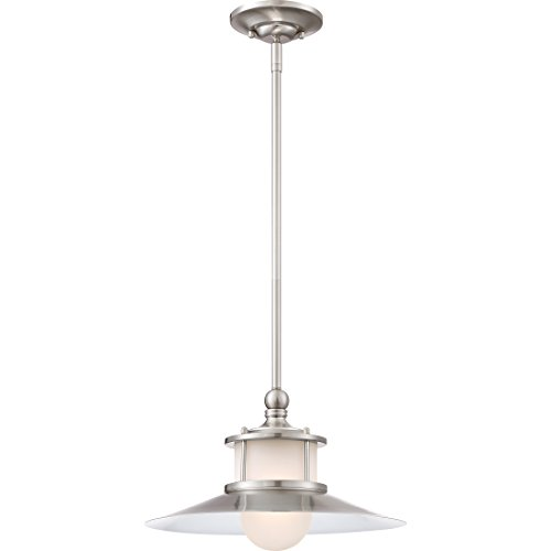 Quoizel NA1514BN New England Mini Pendant Ceiling Lighting, 1-Light, 100 Watt, Brushed Nickel (9