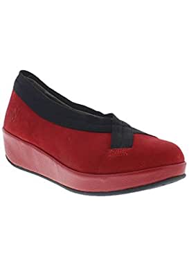 Fly London Women's Bobi Wedge Round Toe Court Shoe - Low Heel Cleated Sole UK5 - EU38 - US7 - AU6 Scarlet s01rVQWfn