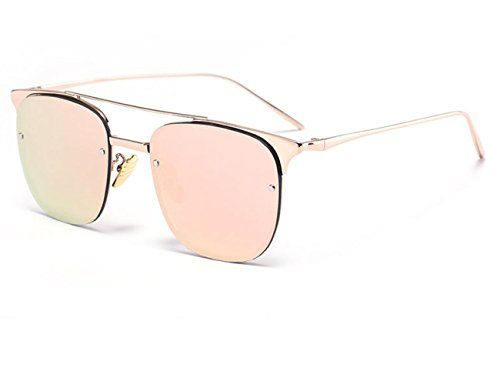 Konalla Square Rimless Tinted Flash Mirror Fashion Sunglasses For Womens - Ads Sunglasses