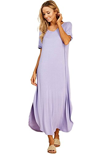 Women's Long Split Maxi Dress Casual Loose V Neck Short Sleeve Beach with Pockets - Lavender (Large) ()