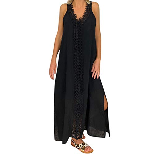 Leonards Workout Suits - Opinionated Women's Sleeveless Lace Dresses V Neck Short Sleeve Ethnic Style Wrap Beach Solid Color Loose Maxi Dress