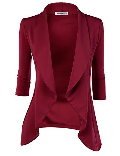 Doublju Womens Lightweight Classic Draped Open Front Blazer with Plus Size Ruby - Red Ruby Blazer