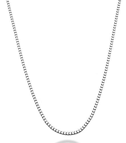 MiaBella 925 Sterling Silver Italian 2.2mm Square Venetian Mirror Box Link Chain Necklace for Men Women, 18