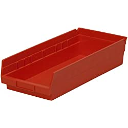 Akro-Mils 30158 18-Inch by 8-Inch by 4-Inch Plastic Nesting Shelf Bin Box, Red, Case of 12