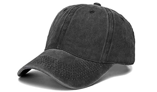 ntage Washed Twill Cotton Baseball Cap Adjustable Dad-Hat, Black ()