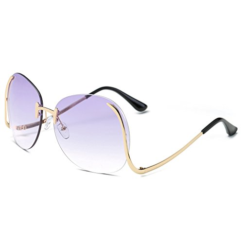 Pro Acme Fashion Vintage Oversized Clear Lens Women's Rimless Sunglasses (Violet, As - Rimless Sunglasses Ladies