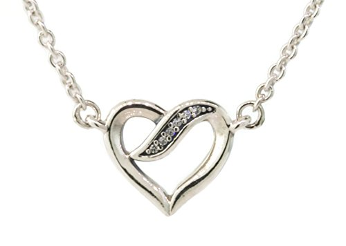 PANDORA Ribbons of Love Pendant Necklace, Clear CZ 590535CZ-45 Adjustable Lengths