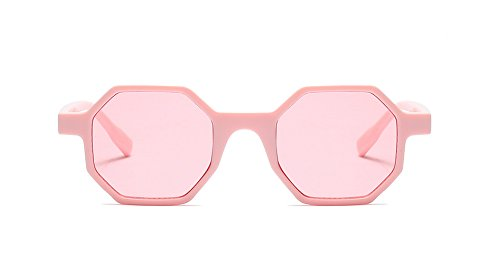 Freckles Mark Geometric Octangle Mod Vintage Retro Plastic Small Sunglasses (Pink, - Branded Sunglasses For Cheap