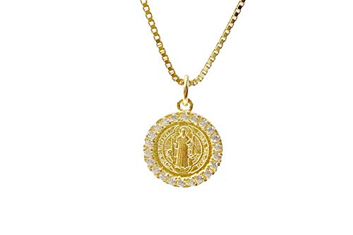 Gemstone Medallion Necklace - Gold Plate Silver Saint Benedict Medal Pendant Jewelry Surrounded by Zirconia for Womens with Gold Silver Chain 18