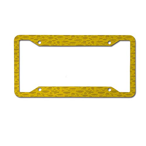 (Dinzisalugg Custom Aluminum Metal License Plate Frame Tag Holder Cute,Retro Style Garden Icons Scattered Abstract and Floral License Plate Frame 4 Holes and Screws )