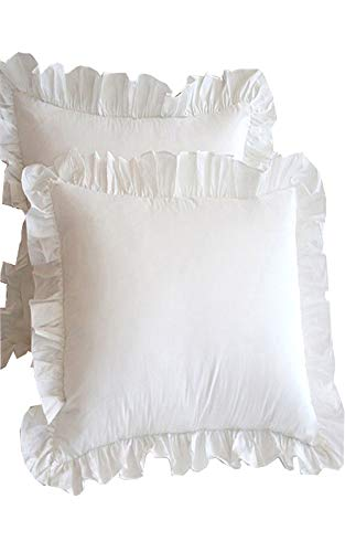 Meaning4 Off White Throw Pillow Cases European Square Shams Covers with Hem Ruffle Cotton 26 x 26 Set of 2