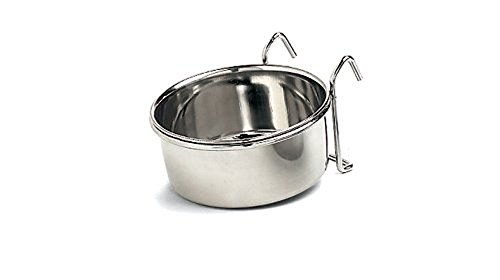 Ethical Pet Stainless Steel Coop Cup, Perfect bowls for cages and crates 20-Ounce pet food bowl. For birds, dogs, cats, and reptiles. - Stainless Steel Coop Cup
