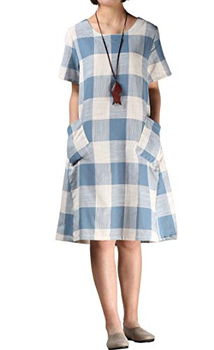 - Mordenmiss Women's Cotton Linen Dress Large Checked Plaid Shirt Dress with Pockets (L,Light Blue)