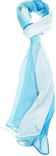 Hand By Hand Aprileo Two-Tone Silk Blend Scarf Ombre Oblong Scarf Lightweight [07 Sky Blue](One Size)