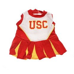 Dog Apparel USC Trojans Sports Pet CheerLeading Dress Uinform outfit SM