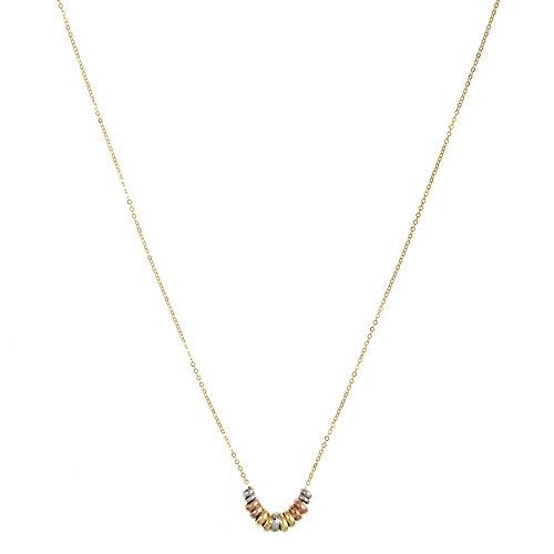 14k Tri-Color Gold Italian Graduated Bead Necklace, Adjustable 16