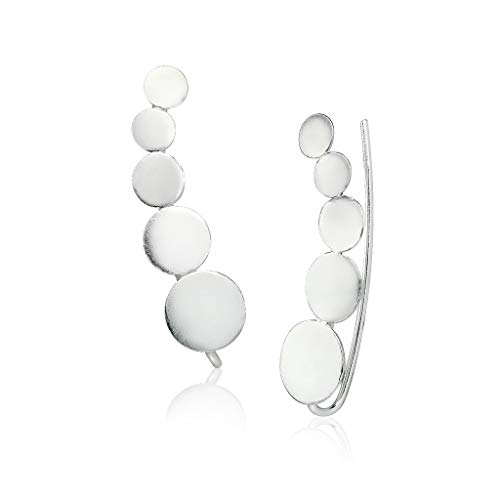 Sterling Silver Circle Climber Earrings Lightweight ()