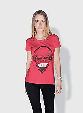 Creo Syria Skull T-Shirts For Women - S, Pink
